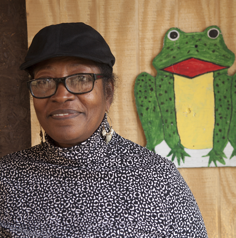 Louise Cadney Coleman, artist and owner of The Frog Farm. Artwork copyright (c) the artist.