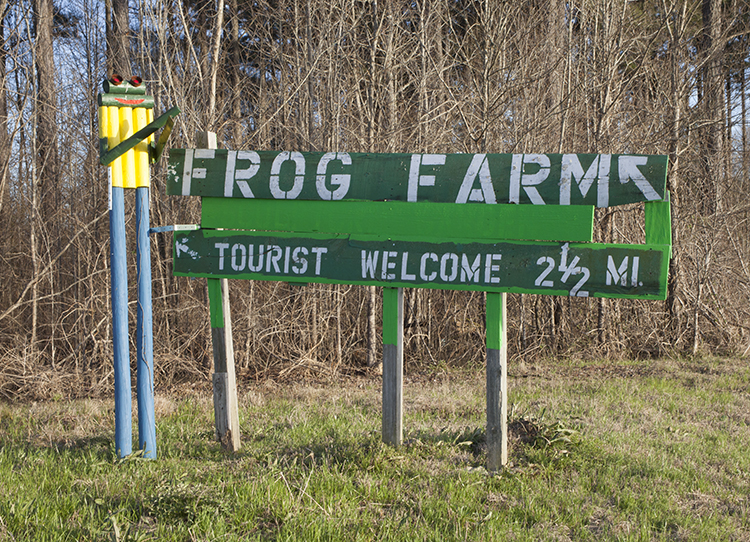 Sign for The Frog Farm at crossroads of Highway 61 and Old Highway 61, about three miles south of the old country store in Lorman