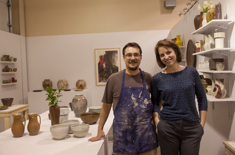 Michael and Laura Ashley in the showrom of Ashley Studio Pottery, Tupelo