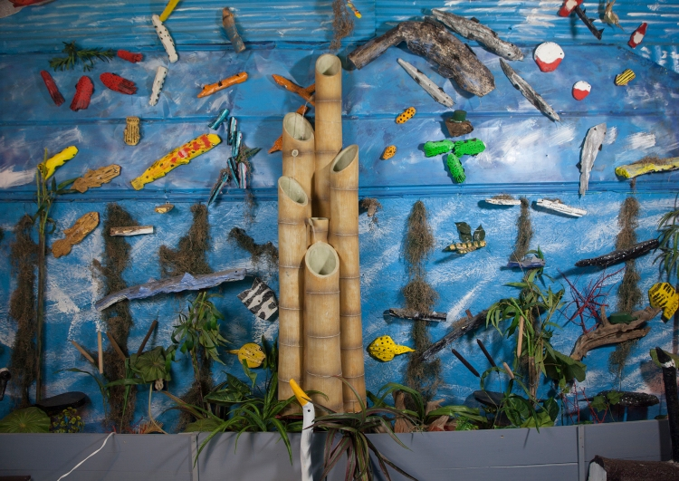 Tropical Fins, ca. 2010, is an indoor attraction by Louise Cadney Coleman at The Frog Farm.