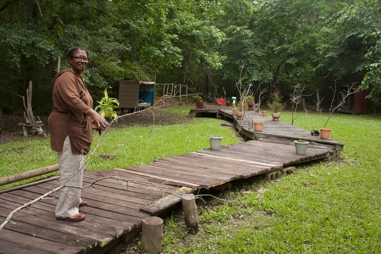 Artist Louise Cadney Coleman stands on the walkway in a low area of her Harriston, Mississippi, property.  A natural frog habitat, this area also is a folk art sculpture garden that local children named The Frog Farm.