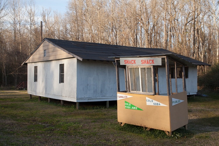 The Snack Shack and The Frog Nest are two of the structures that Louise Cadney Coleman and her husband have built at The Frog Farm. The Frog Nest houses her studio and showroom.