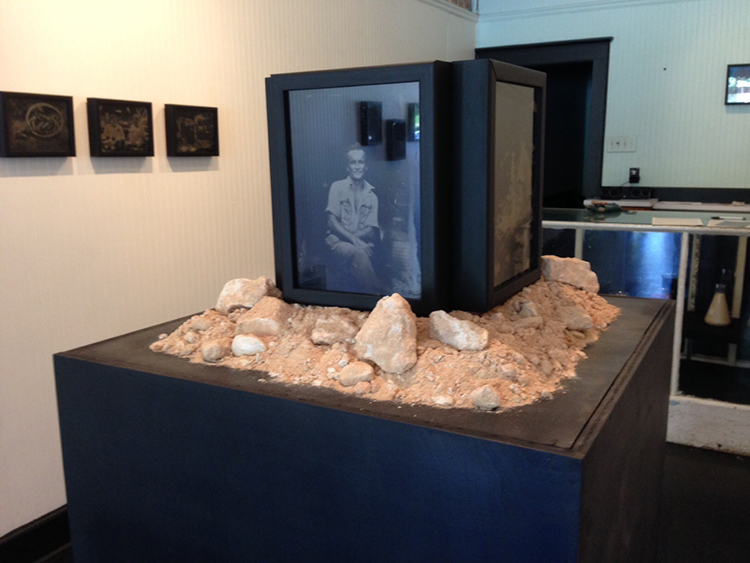Installation shot of HOT BLIND EARTH by J. R. Larson.