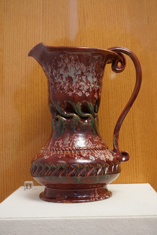 George E. Ohr, Pitcher, c. 1895. glazed ceramic, 9 in. x 5 7/8 in. Private Collection, Biloxi, Mississippi.