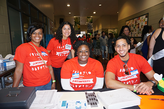 Volunteers at LatinFest 2015: (from left to right) Joycie Wilson, Addy Keith (event organizer), Diamond Williams, Jamie Lopez