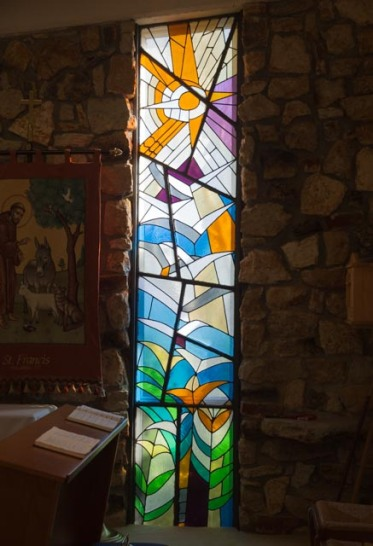 Millie Howell, stained glass window at St Francis of Assisi Episcopal Church, Philadelphia, MS