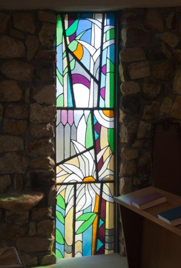 Harriett Deweese, stained glass window at St Francis of Assisi Episcopal Church in Philadelphia, MS